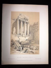 David Roberts Holy Land 1887 Antique Print. Baalbec, Western Portico. Lebanon
